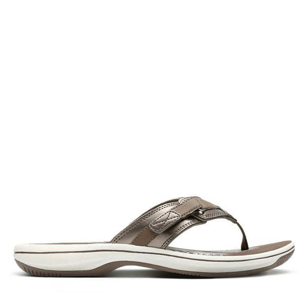 Damen Clarks Breeze Sea Zehentrenner - Grau | Deutschland NY15-829