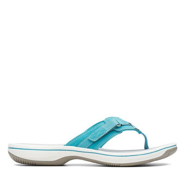 Damen Clarks Breeze Sea Zehentrenner - Blau | Deutschland ND68-288